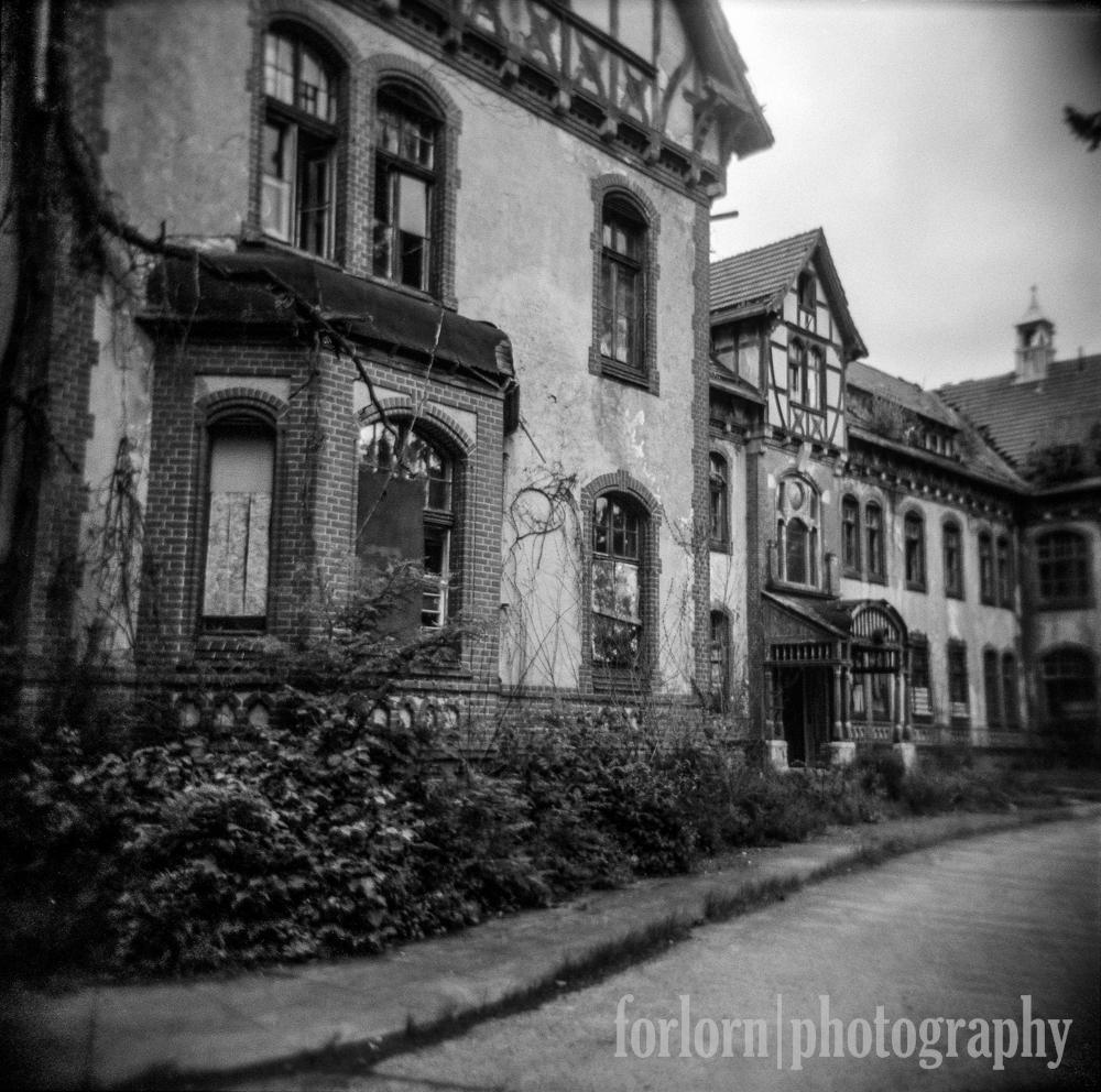 A Holga shot of the Administrator's building.    Camera: Holga 120N Film: Kodak Tri-X