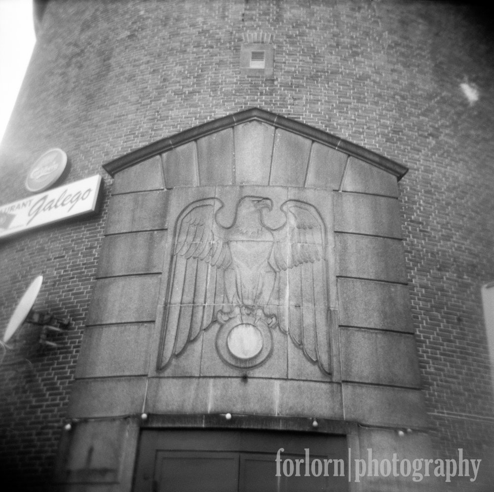 I loved (in a morbid sightseeing way not a Stormfront way, people!) this little remnant of Nazi imagery at the entrance of the Zombeck Tower.  What do you suppose used to be in that circle beneath the eagle?  Hmmmmm... I just can't quite place it.  Camera: Holga 120N Film: Kodak Tri-X