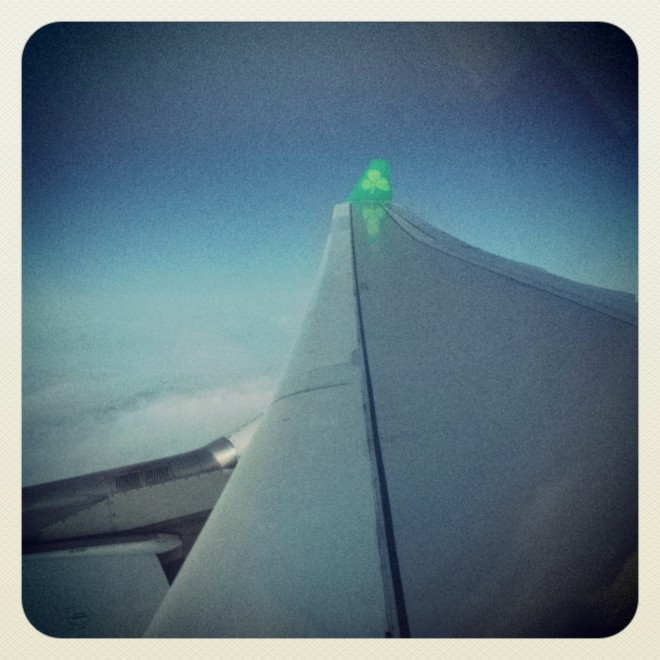 Luck o' the Irish - the Aer Lingus plane didn't crash.  I'm always a little disappointed when that happens...