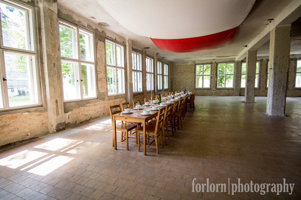 This particular room was the dining hall for the Italians.  It's the only one that's been restored as of yet - most of this building is quite deteriorated.  (Camera: Canon Rebel T3i)