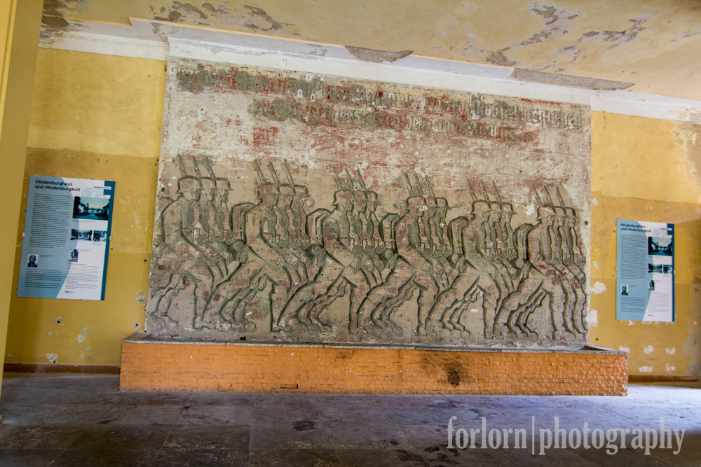 And the military aspirations of the Nazis were put on blatant display with this artwork that was next to the theater.  The Soviets had covered it up when they occupied the building, but it was uncovered recently during renovation work.  (Camera: Canon Rebel T3i)